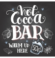 Hot cocoa bar sign on chalkboard background vector image