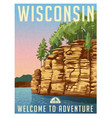 wisconsin scenic travel poster vector image