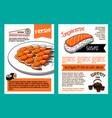 Japanese cuisine restaurant menu poster template vector image