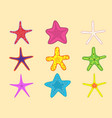 starfish set with different colors summer vector image