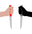 Knife with hand vector image