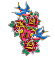 style tattoo swallow rose heart vector image vector image
