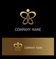 gold abstract butterfly beauty logo vector image