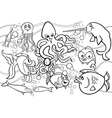 sea life animals group coloring page vector image
