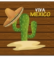 cactus with hat mexican icon design graphic vector image