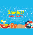 pool party invitation poster with blue water and vector image