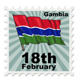 post stamp of national day of Gambia vector image