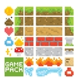 Pixel art style game level assets objects vector image