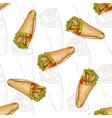 Seamless pattern burrito scetch and color vector image