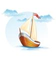 Cartoon image of a wooden sailing boat vector image