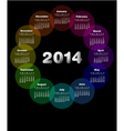 Colorful calendar for 2014 Week starts on sunday vector image