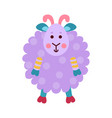 cute cartoon purple sheep animal toy colorful vector image