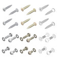 screws washers hardware isometric set vector image
