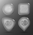 Global communication Glass buttons vector image