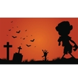 Halloween zombie and bat of silhouette vector image