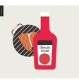 Barbecue grilled meat and ketchup vector image
