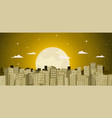 buildings background in a golden moonlight vector image