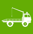 car towing truck icon green vector image
