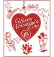 Happy valentines day - set vector image