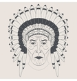 Indian chief in a feathered hat Front view vector image