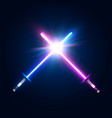 two crossed light neon swords fight club logo vector image