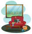 Two kittens playing at the sofa vector image
