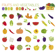 Fruits and vegetables Nutrition Icon set vector image