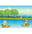 Canoe children background vector image vector image