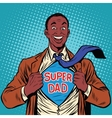 African American joyful super dad vector image