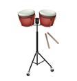 Beautiful Bongo Drum with Sticks vector image