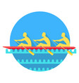 sports rowing on canoe flat style icon
