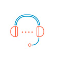 linear of color headphone support on white b vector image