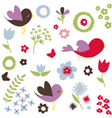Birds and flowers spring background vector image vector image