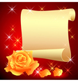 Rolled parchment and rose vector image vector image