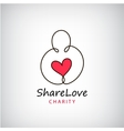 charity logo Heart in hand symbol sign vector image