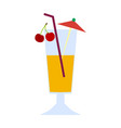 a glass of tropical coquel with cherries and an vector image