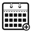 calendar deadline icon simple black style vector image