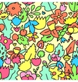 Childish cute pastel colored floral seamless vector image