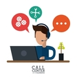 operator assistant man headphone call center icon vector image