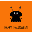 Happy Halloween card Black silhouette girl monster vector image