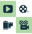 music icons set collection of play video vector image