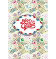 Greeting card with xmas stamps envelops labels vector image