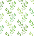 Seamless green spring pattern with olive leaves vector image