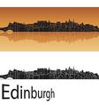 Edinburgh skyline in orange background vector image