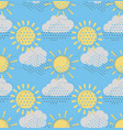 sun with clouds seamless pattern vector image vector image