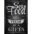 Poster Sea food fresh sea gifts chalk vector image vector image