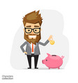 businessman with piggy bank vector image