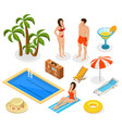 isometric summer vacation elements set vector image