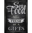 Poster Sea food fresh sea gifts chalk vector image