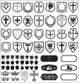 Shields and cross heraldy set vector image
